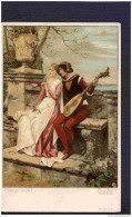 MENZLER -MUSIQUE-cour à La Mandoline-liebt Er Mich - Années 1900 Dos Non Partagé - Illustrateurs & Photographes