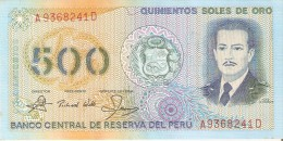 BILLETE DE PERU DE 500 SOLES DE ORO DEL AÑO 1982 (BANKNOTE) SIN CIRCULAR-UNCIRCULATED - Perú