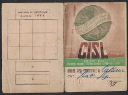 """BU08      Tessera CISL Per Il 1954 - Annullo """" PERFIN """" - Documenti Storici"""