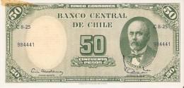BILLETE DE CHILE DE 50 PESOS DEL AÑO 1960-61 CON MANCHA (BANK NOTE) SIN CIRCULAR-UNCIRCULATED - Chile