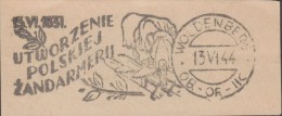Pologne 1944. Camp De Woldenberg. Oblitération. 1831, Création De La Gendarmerie Polonaise. Essai ? - Police - Gendarmerie