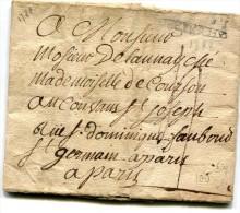 """ETRECHY Seine Et Oise Marque """" DEZTRICHY """" N° 3 - 1788 Sur Lettre Au Départ De CHAMARANDE ....G - Postmark Collection (Covers)"""