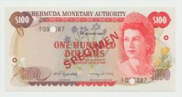Bermuda 100 DOLLARS 2.1. 1982 UNC Pick 33s  SPECIMEN - Bermudes