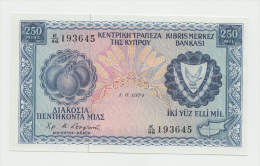 Cyprus 250 Mils 1-6- 1974 UNC NEUF Pick 41b  41 B - Chypre