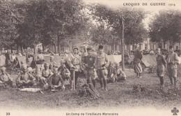 C P A---MILITARIA--croquis De Guerre 1914--un Camp De Tirailleurs Marocains--voir 2 Scans - Oorlog 1914-18