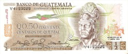 BILLETE DE GUATEMALA DE 1/2 QUETZAL DEL  7 ENERO 1981 CALIDAD EBC+ (XF) (BANK NOTE) - Guatemala