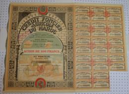 Credit Foncier Et Agricole Du Maroc, Action De 100 Frs, K De 1,6 MF - Afrique