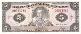 BILLETE DE ECUADOR DE 5 SUCRES DEL AÑO 1983 (BANKNOTE) - Ecuador