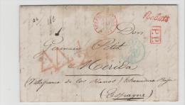 FPO050/  FRANKREICH - Paris 12.6.1844, N. Spanien  Bureau Central 13.6. PP Rebuts Par Villafranca De Los Banos - 1801-1848: Precursori XIX