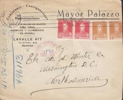 Argentina MAYOR PALAZZO, MENDOZA 1930 Cover Letra WASHINGTON D. C. United States 2x 2 Pairs San Martin Stamps - Argentinien