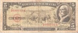 BILLETE DE CUBA DE 5 PESOS DEL AÑO 1958   (BANKNOTE)  MAXIMO GOMEZ - Cuba