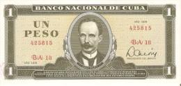 BILLETE DE CUBA DE 1 PESO DEL AÑO 1979 CALIDAD EBC (XF)  (BANK NOTE)  JOSE MARTI - Cuba
