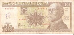 BILLETE DE CUBA DE 10 PESOS DEL AÑO 2005   (BANKNOTE)  MAXIMO GOMEZ - Cuba
