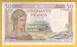 BILLET FRANCAIS - 50 Francs Cérès 22.2.1940 SUP - 1871-1952 Antichi Franchi Circolanti Nel XX Secolo