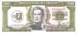 BILLETE DE URUGUAY DE 500 PESOS DEL AÑO 1975 CON RESELLO   (BANK NOTE) SIN CIRCULAR-UNCIRCULATED - Uruguay