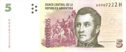 BILLETE DE ARGENTINA DE 5 PESOS SERIE H  (BANKNOTE) CALIDAD EBC (XF) - Argentina