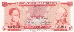 BILLETE DE VENEZUELA DE 5 BOLIVARES DEL AÑO 1974 CALIDAD EBC (XF)  (BANK NOTE) - Venezuela