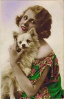 """FANTAISIE FEMMES FRAU LADY  : """" Femme Et Chien Blanc """"  - Style Retro Année 1930 - Femmes"""