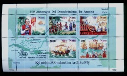 Vietnam Viet Nam MNH Perf Sheetlet 1992 : 500th Anniversary Of Discovery Of America (Ms636) - Vietnam