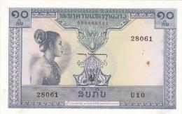 BILLETE DE LAOS DE 10 KIP DEL AÑO 1962 S/C Unc Pequeña Manchita - Laos
