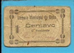 CUBA - CÉDULA De 1 CENTAVO - ND - Escassa - M. A. 800 - COM Chancela E Selo - PORTUGAL - EMERGENCY PAPER MONEY - NOTGELD - Portugal