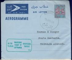 DV8-135 SUDAN 1964 FIRST FLIGHT AEROGRAMME LH731 KHARTOUM - TRIPOLI. - Soedan (1954-...)