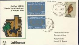 DV8-136 LIBIA 1966 FIRST FLIGHT COVER LH733 TRIPOLIS - TUNIS - FRANKFURT. - Libia