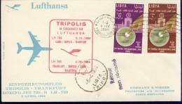 DV8-138 LIBIA 1964 FIRST FLIGHT COVER LH730 CAIRO - TRIPOLIS - FRANKFURT. - Libië