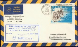 DV8-145 MEXICO 1966 FIRST FLIGHT COVER LH471 MEXICO - MONTREAL - KOLN - FRANKFURT. - Mexico