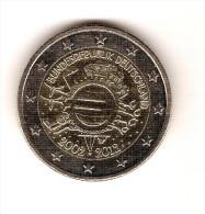 ALLEMAGNE  2012 F /10 ème Anniversaire Monnaies Euro /  PIECE De 2 EUROS  De Circulation 2002- 2012  /bon Etat - Germany