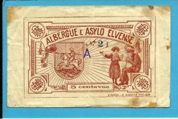 ELVAS - CÉDULA 5 CENTAVOS - M. A. 814 - Albergue E Asylo - Serie A - PORTUGAL - EMERGENCY PAPER MONEY - NOTGELD - Portugal