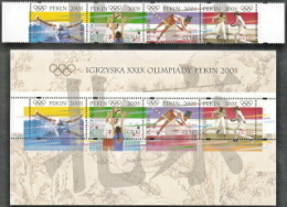 Poland,  Scott 2018 # 3903, 3903e,  Issued 2008,  S/S Of 4 + Strip Of 4,  MNH,  Cat $ 5.00,  08 Olympics - 1944-.... Republic