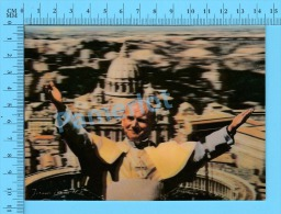 """Lenticulaire Lenticular 3D-1position """"Pape Jean Paul II Devant St-Pierre De Rome """" 2scans - Papes"""