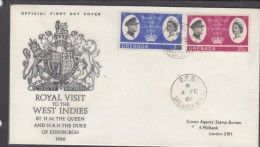Grenade:  Royal Visit To The Carribean,1966 , First Day Cover - Grenada (...-1974)