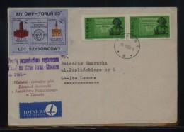 POLAND 1983 TORUN 83 PHILATELIC EXPO FLOWN GLIDER COVER CINDERELLA STAMPS CHELMNO RECEIVER REVERSE - Airmail
