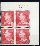 DENMARK 1961 30 Øre Definitive On Ordinary Paper In Corner Block With Control Number MNH / **.  Michel 391x - Denmark