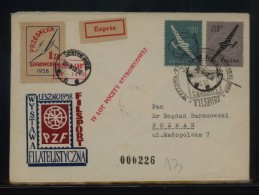 POLAND 1958 4TH GLIDING FLIGHT MUCHA 100 GLIDER CINDERELLA GOSTYN POZNANSKI COVER RED EXPRES LABEL RED CACHET - Airmail
