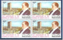 Pakistan 1973  50th Anniversary Of Turkish Republic  MNH Block Of 4 - Pakistan