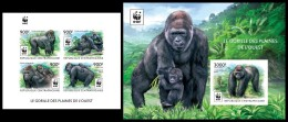 IMPERF. Central Africa 2015 - WWF Gorilla M/S + S/S. Official Issue - W.W.F.