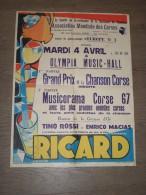 Affiche  Programme Ricard Bi centenaire Naissance de Napol�on Paris Association Mondiale des Corses