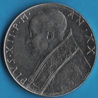 VATICAN  100 LIRE 1958 / XX  PIVS·XII·P·M  FIDES   KM# 55 - Vaticano (Ciudad Del)