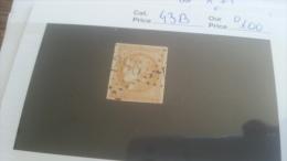 LOT 267528 TIMBRE DE FRANCE OBLITERE N�43B VALEUR 100 EUROS