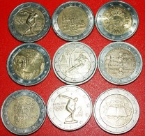 ★9 COMMEMORATIVE COINS ★ 2 EURO DIFFERENT TYPES! LOW START ★ NO RESERVE! - Munten & Bankbiljetten