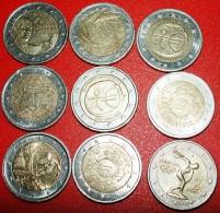 ★9 COMMEMORATIVE COINS ★ 2 EURO DIFFERENT TYPES! LOW START ★ NO RESERVE! - Kilowaar - Munten