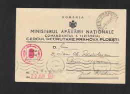 Romania Military PC 1941 - Storia Postale Seconda Guerra Mondiale