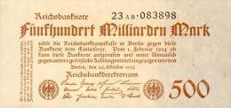 Deutschland, Germany - 500 Mrd. Mark, Reichsbanknote, Ro. 124 D,  ( Serie AB ) UNC, 1923 ! - [ 3] 1918-1933 : Weimar Republic