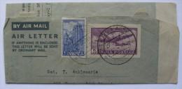 INDIA 1952 UPRATED AEROGRAMME BOMBAY TO N.YORK USA - 1950-59 Republik