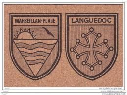 """Cp En Liege Réf-JP-956 ( Dép 34 )  Le BLASON   """"""""""""""""""""""""""""""""  De La Ville De  MARSEILLAN- PLAGE  """""""""""""""""""""""""""" - France"""