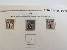 COLONIES FRANÇAISES ANNAM & TONKIN + COCHINCHINE : Collection De Timbres Dès N°1 - France (former Colonies & Protectorates)