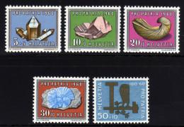 SCHWEIZ 1960 ** Mineralien & Fossilien - MiNr.714-718 Kompletter Satz MNH - Mineralien